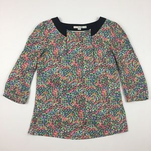 BODEN Silk Blue Green and Pink Pattern Blouse Top